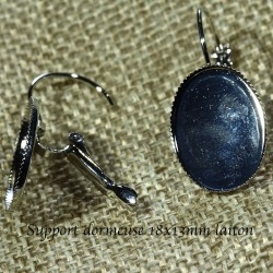 20 supports boucles d'oreilles dormeuse laiton argenté  13x18mm