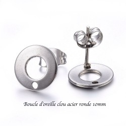 4 supports boucle d'oreille acier inoxydable plateau rond 10mm