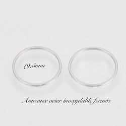 10 anneaux acier inoxydable fermés rond 19.5mm