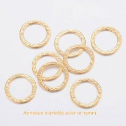 6 Anneaux acier 316L or martelés 15mm