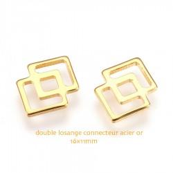 10 connecteurs acier inoxydable double losange or 16x11mm