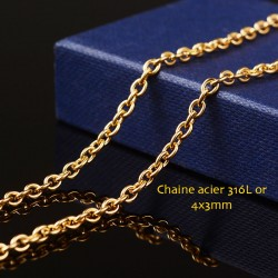 50cm chaine acier inoxydable or maillon ovale 4x3mm
