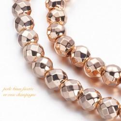 10 perles hématite plaqué or rose champagne grade AAA facette 6mm