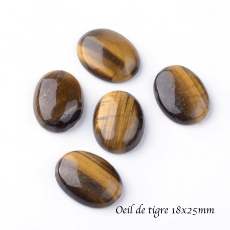 1 cabochon ovale pierre gemme oeil de tigre 18x25mm