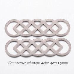 8 connecteurs ethnique acier inoxydable ovale 40x11.5mm