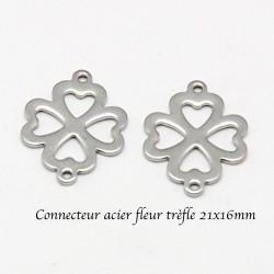 8 fleurs acier inoxydable connecteur trèfle 21x16mm