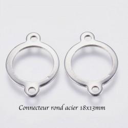 10 connecteurs anneau rond acier inoxydable argent mat 18x13mm
