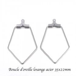 6 boucles d'oreille créole acier inoxydable losange 35x22mm