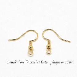 10 boucle d'oreille attache indienne laiton plaqué or 18KT 18mm