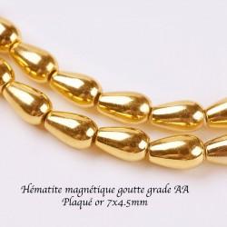 10 perles goutte hématite non magnetique galvanoplastie plaqué or 7x4mm