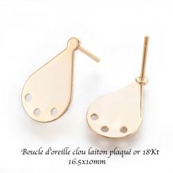 1paire boucle d'oreille clou goutte laiton plaqué or 18KT 16.5x10mm