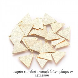 10 sequins stardust triangle laiton plaqué or 13x15mm