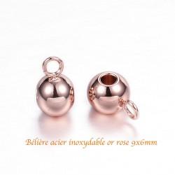 6 bélières acier inoxydable or rose 9x6mm