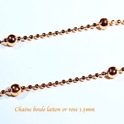 1 M Chaine bille 1.5mm laiton plaqué or rose