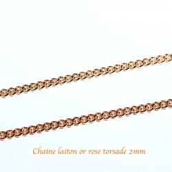 1 M Chaine laiton or rose torsade soudée 2,5x0,6mm