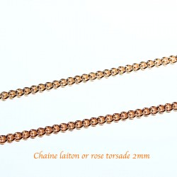 1 M Chaine laiton or rose torsade soudée 2mmx0,6mm