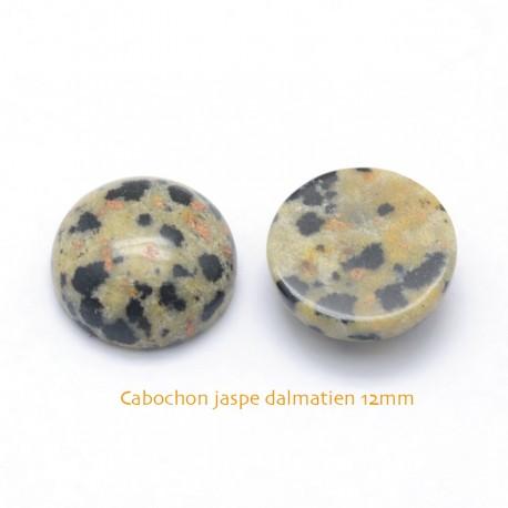 2 Cabochons pierre gemme jaspe dalmatien 12mm