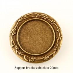 1 Support broche cabochon rond fleur bronze 20mm +cabochon
