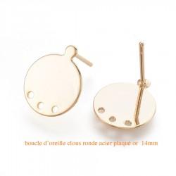 1 Paire boucle d'oreille clou acier plaqué or 14KT  ronde 14x12mm