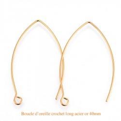 10 boucles d'oreille acier or crochet longue 40mm