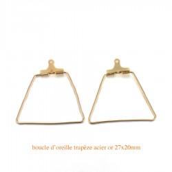 4 Boucles d'oreille créole trapèze acier or 26mm