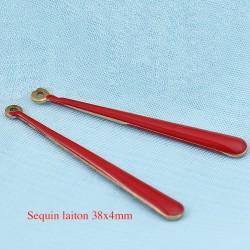 2 Sequins  longue goutte laiton émail rouge 38x4mm