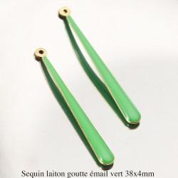2 Pendentifs sequin laiton émail longue goutte verte 38x4mm