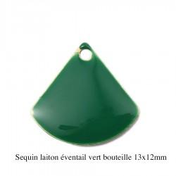 4 breloques sequin laiton éventail émail vert bouteille 13x12mm
