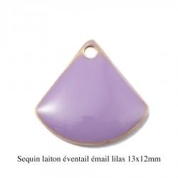 4 breloques sequin laiton éventail émail  lilas 13x12mm