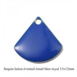 4 breloques sequin laiton éventail émail bleu royal 13x12mm
