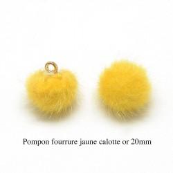 5 breloques pompon fourrure jaune calotte or 20mm