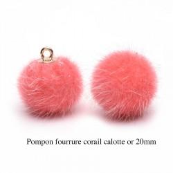 5 breloques pompon fourrure  corail calotte or 20mm
