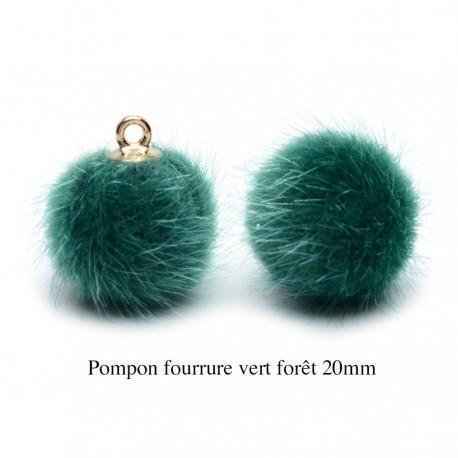 5 breloques pompon fourrure vert forêt calotte or 20mm