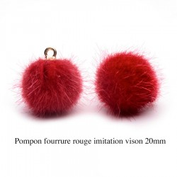 5 breloques pompon fourrure rouge calotte or 20mm