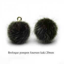 5 breloques pompon fourrure kaki calotte or 20mm