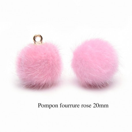 5 breloques pompon fourrure rose  calotte or 20mm