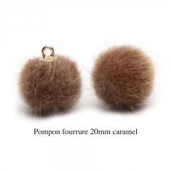 5 breloques pompon fourrure chocolat calotte or 20mm