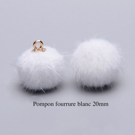 5 breloques pompon fourrure blanc  calotte or 20mm