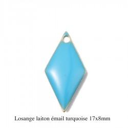 sequin laiton x4 émaillés turquoise  losange 17x8mm
