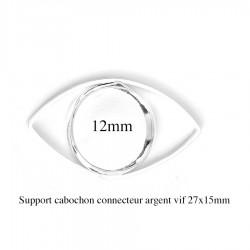 4 supports cabochon connecteur oeil de cheval argent 27x15mm