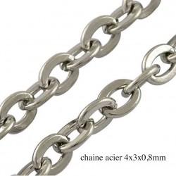 1 metre chaine acier inoxydable soudée 4x2mm argente platine H007