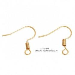 10 crochets d'oreille attache indienne plaqué or 17x15mm