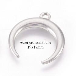 4 Breloques double corne acier inoxydable 19x17mm