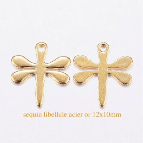 8 sequins acier libellule or 12x10mm