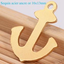 6 breloques sequin  acier ancre marine or 16x13mm