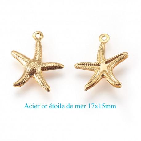 6 breloques  acier or étoile de mer 17x15mm