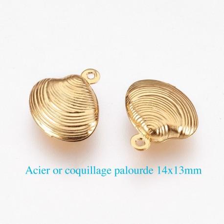6 breloques acier or coquillage palourde 14x13mm