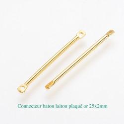 10 connecteurs baton laiton plaqué or 25x2mm