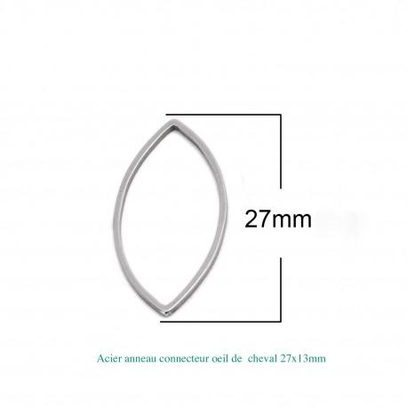 8 Connecteurs de cadre acier inoxydable ovale 27x13mm