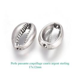 4 Perles cauris argent sterling plaqué mat 17x12mm